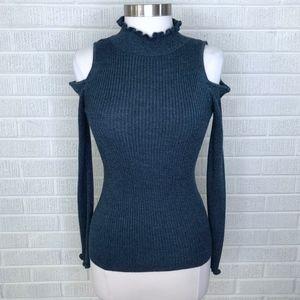 Rebecca Taylor Metallic Cold Shoulder Pullover Top